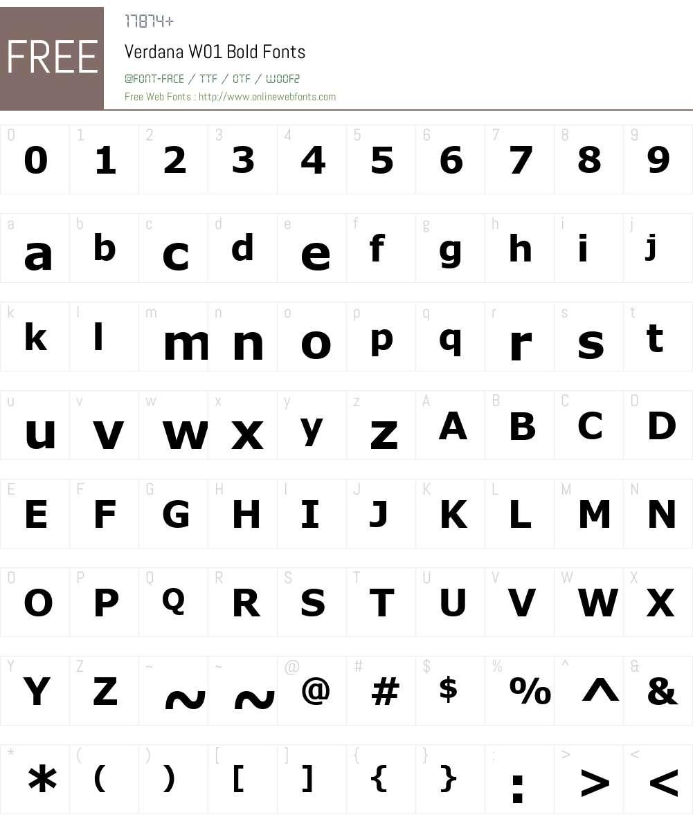 VerdanaW01-Bold Font Screenshots