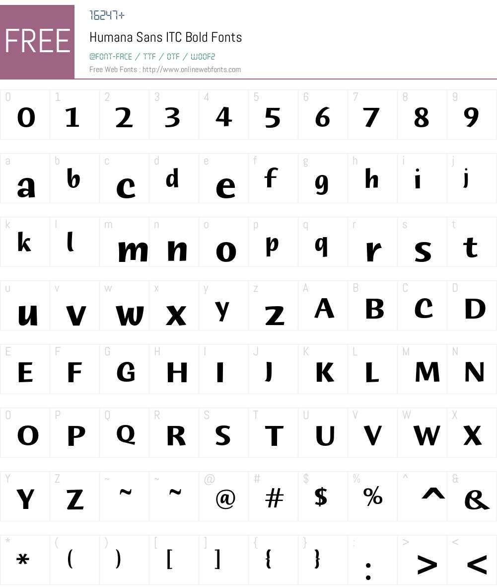 Humana Sans ITC Font Screenshots