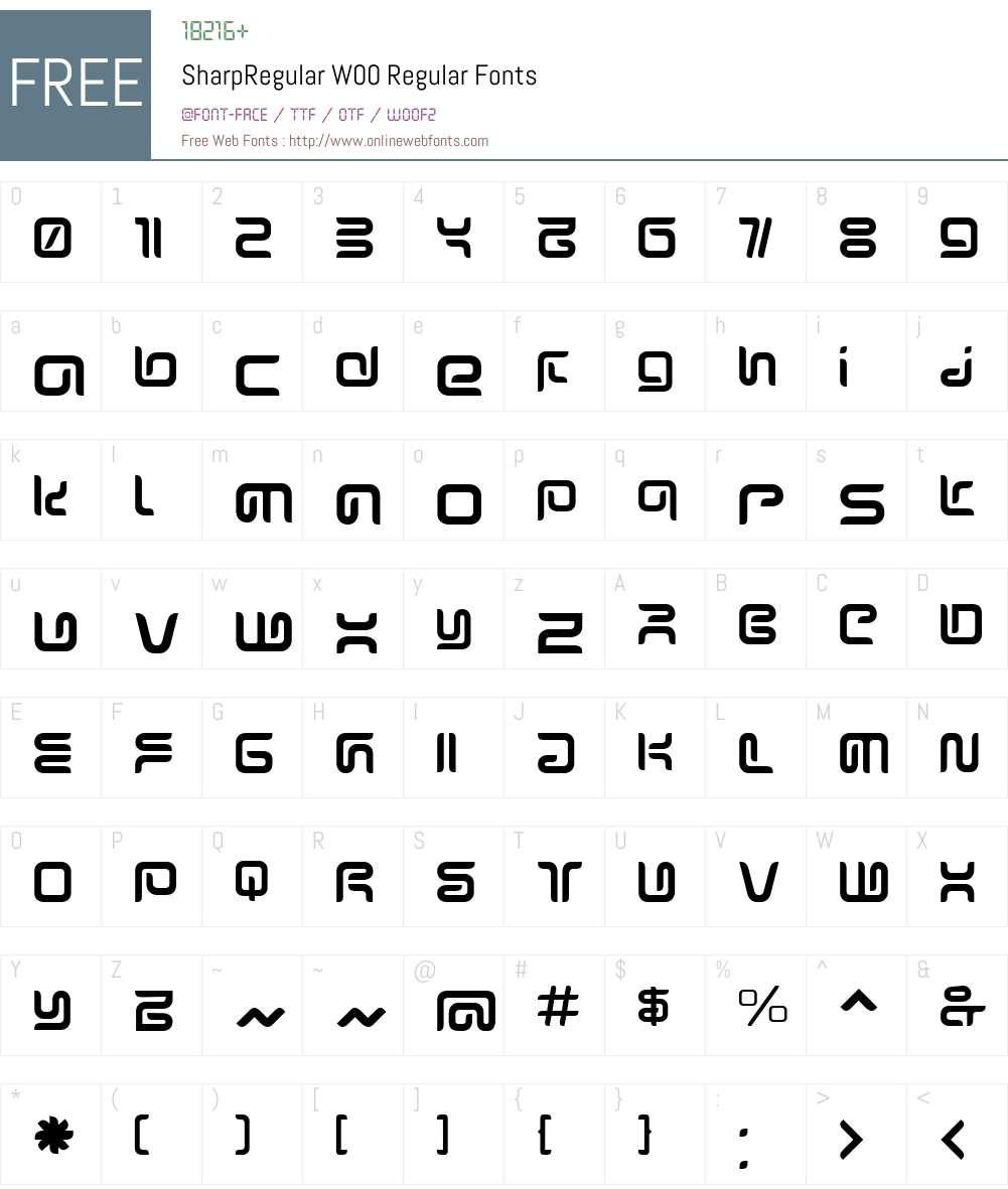 SharpRegular Font Screenshots