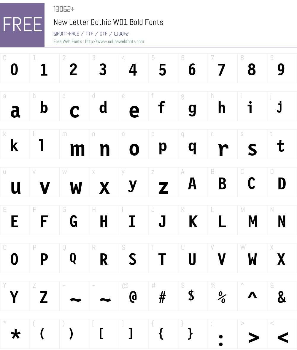 NewLetterGothicW01-Bold Font Screenshots