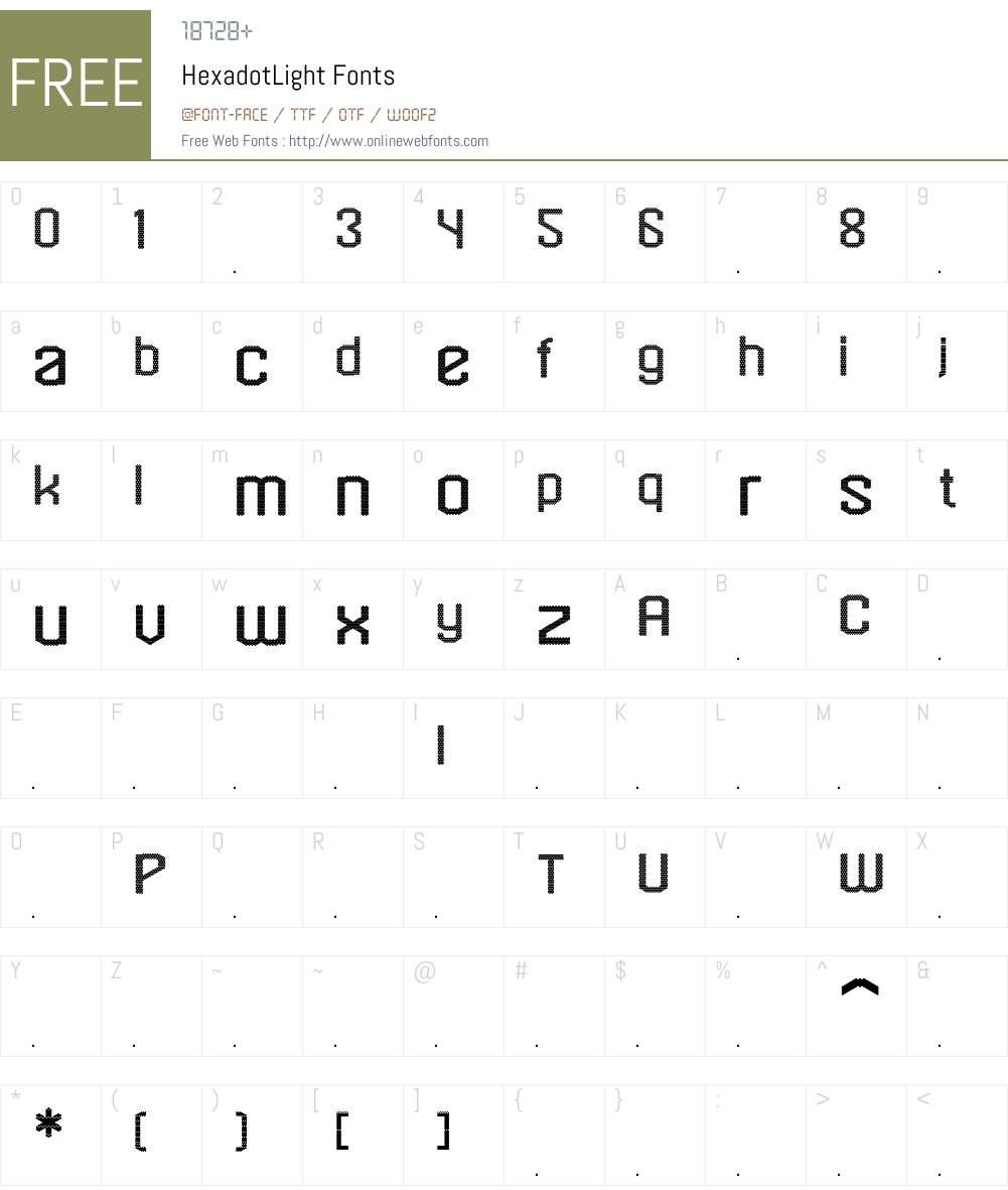 HexadotLight Font Screenshots
