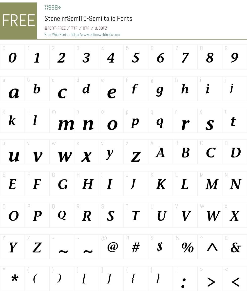 StoneInfSemITC Font Screenshots