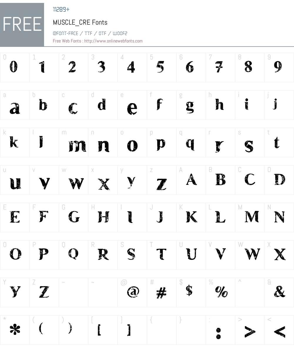MUSCLE_CRE Font Screenshots