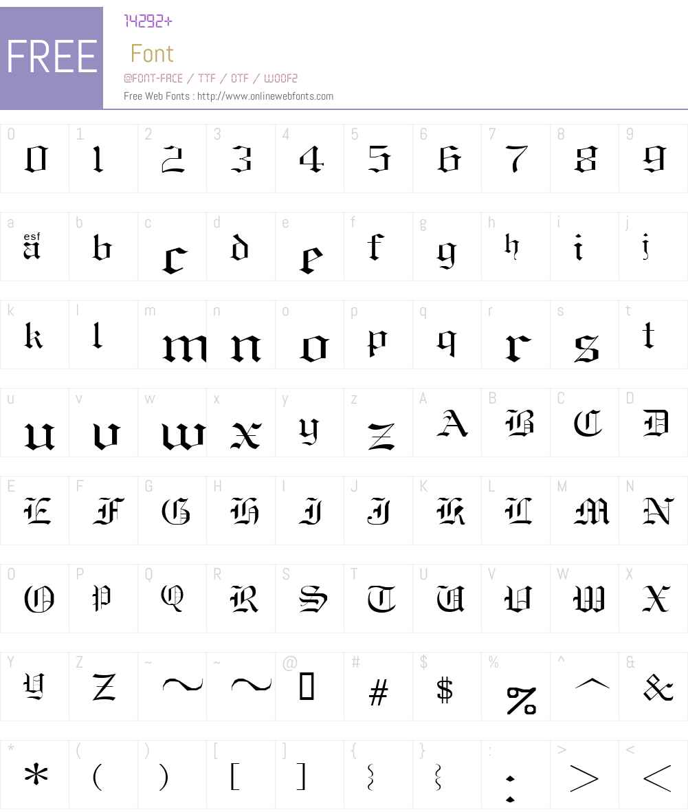 Old English Sample Font Screenshots