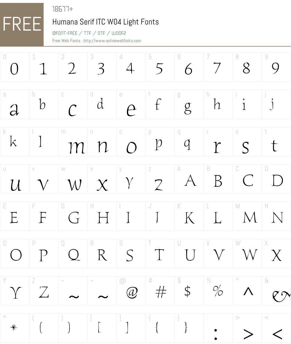 ITC Humana Serif Font Screenshots