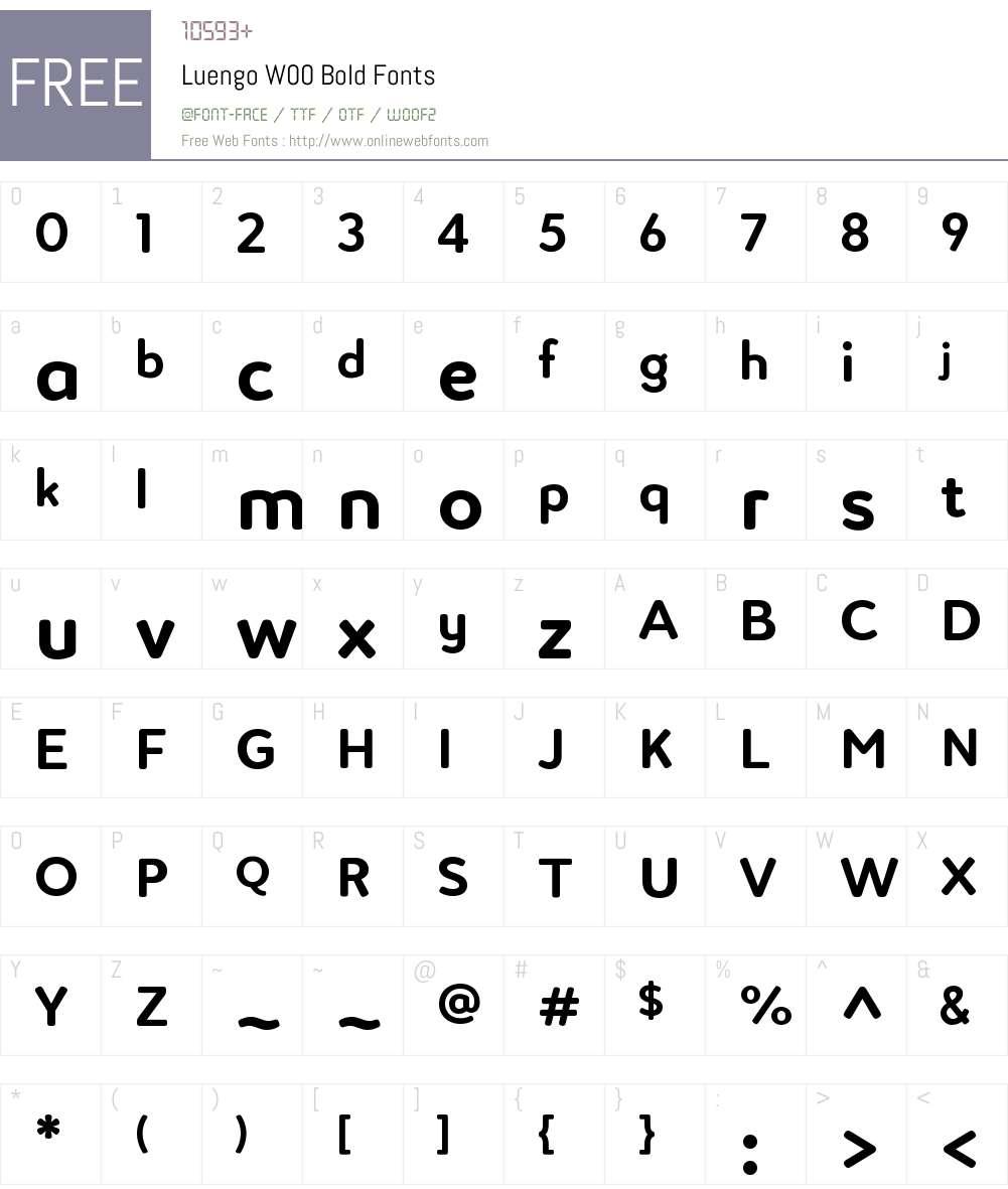 LuengoW00-Bold Font Screenshots