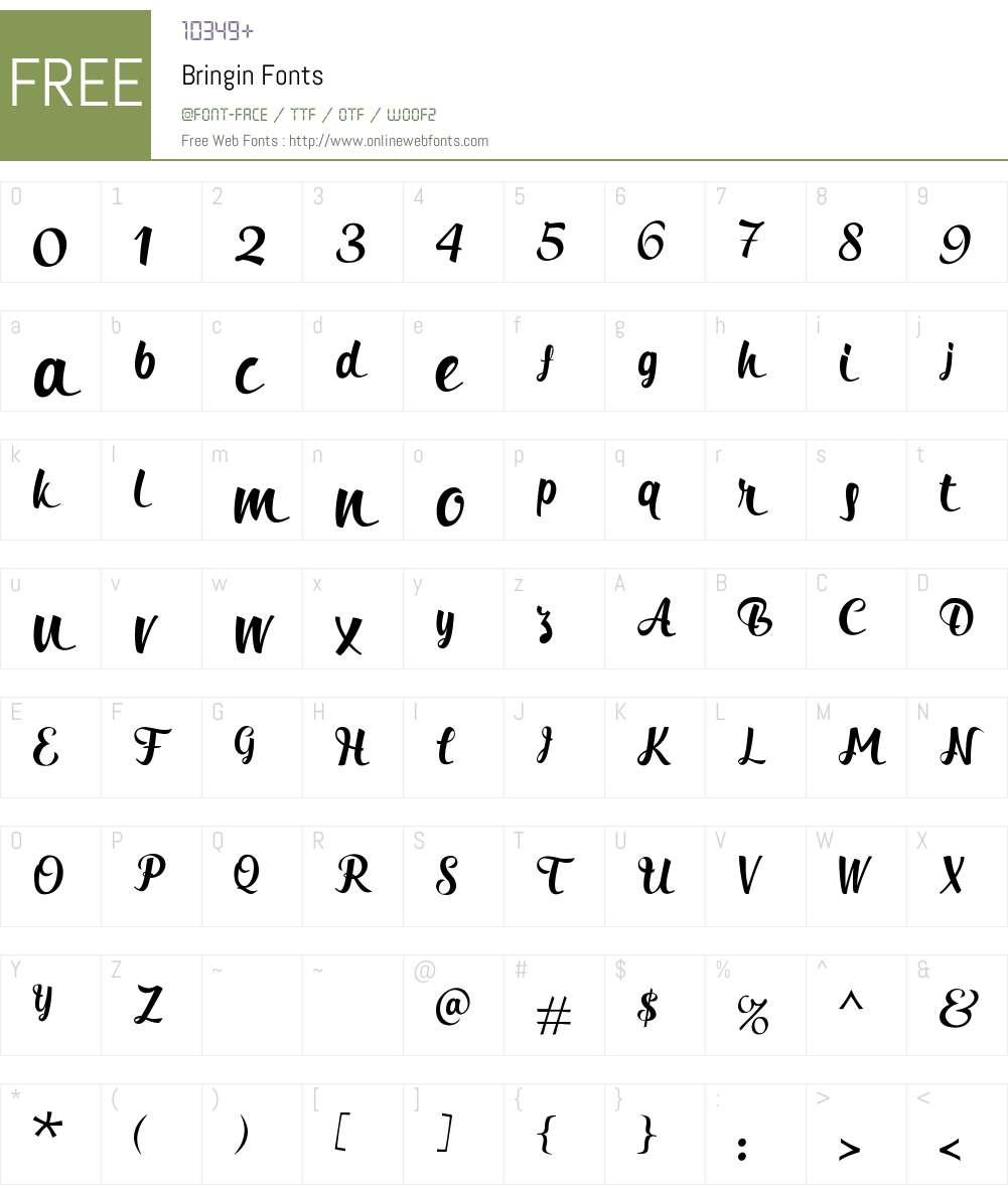 Bringin Font Screenshots