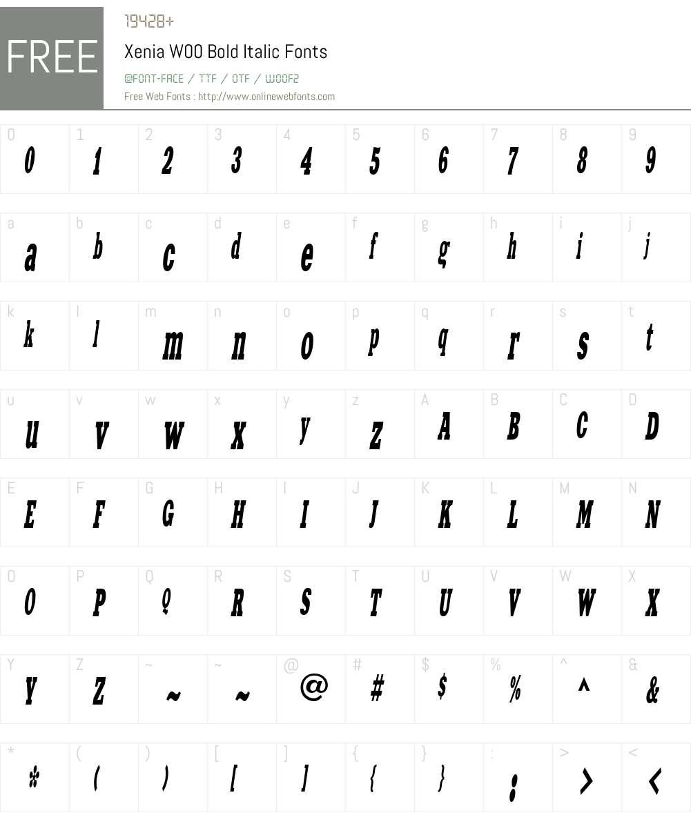 XeniaW00-BoldItalic Font Screenshots