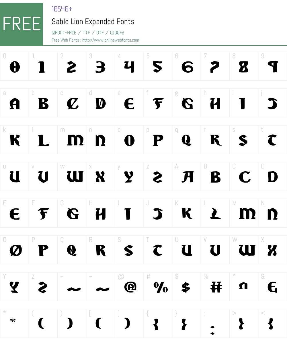 Sable Lion Expanded Font Screenshots