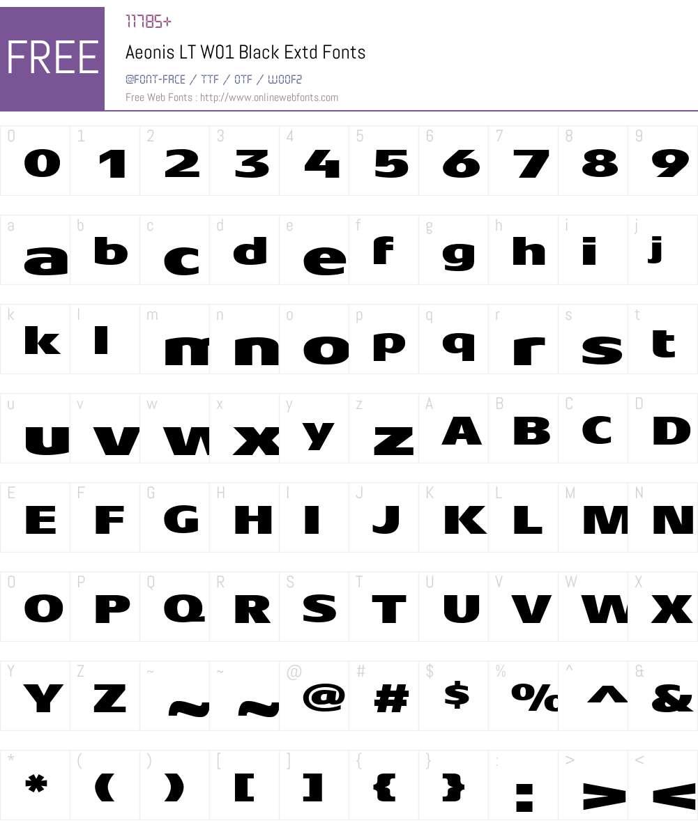 AeonisLTW01-BlackExtd Font Screenshots
