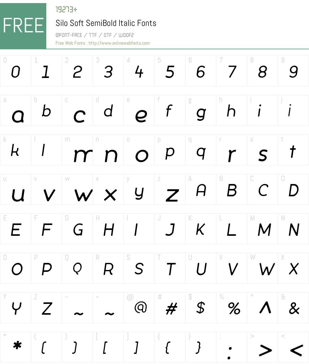 SiloSoft-SemiBoldItalic Font Screenshots
