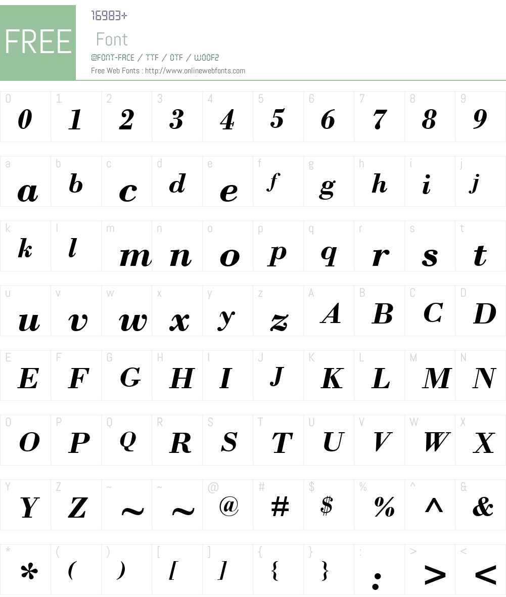 Bodoni MT Font Screenshots