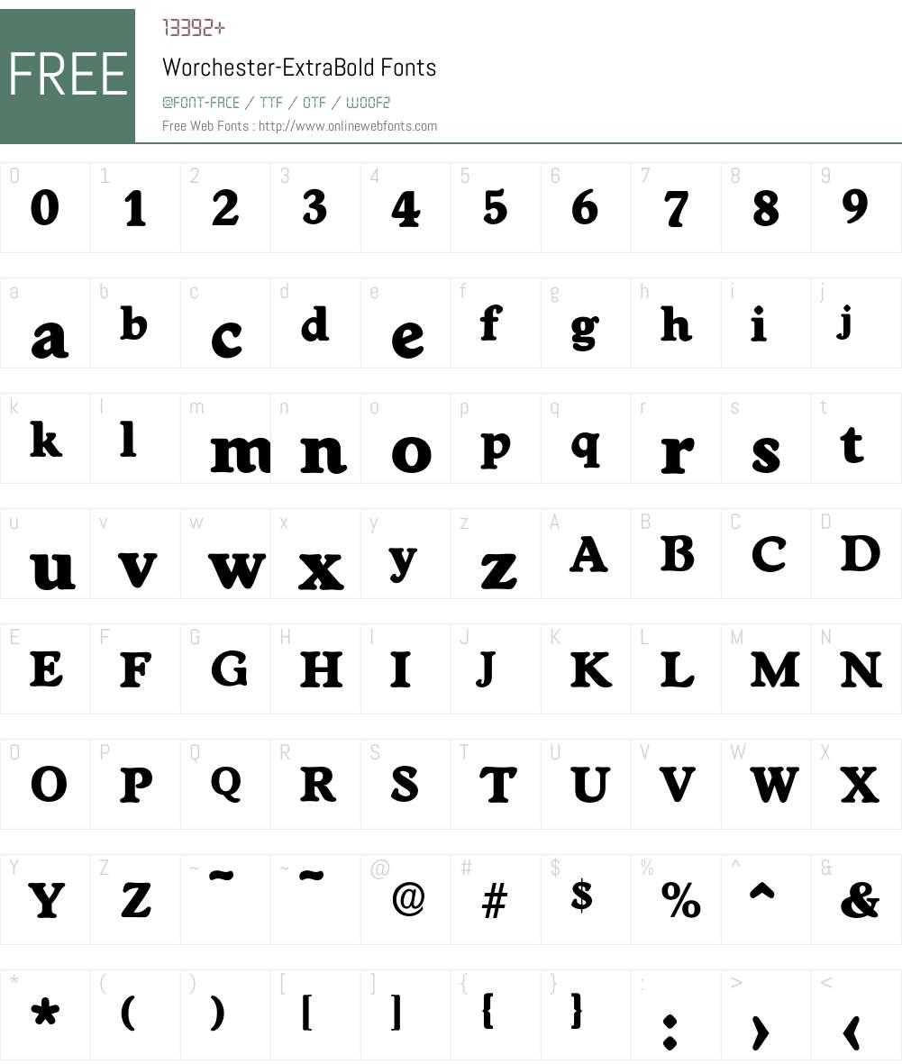 Worchester-ExtraBold Font Screenshots