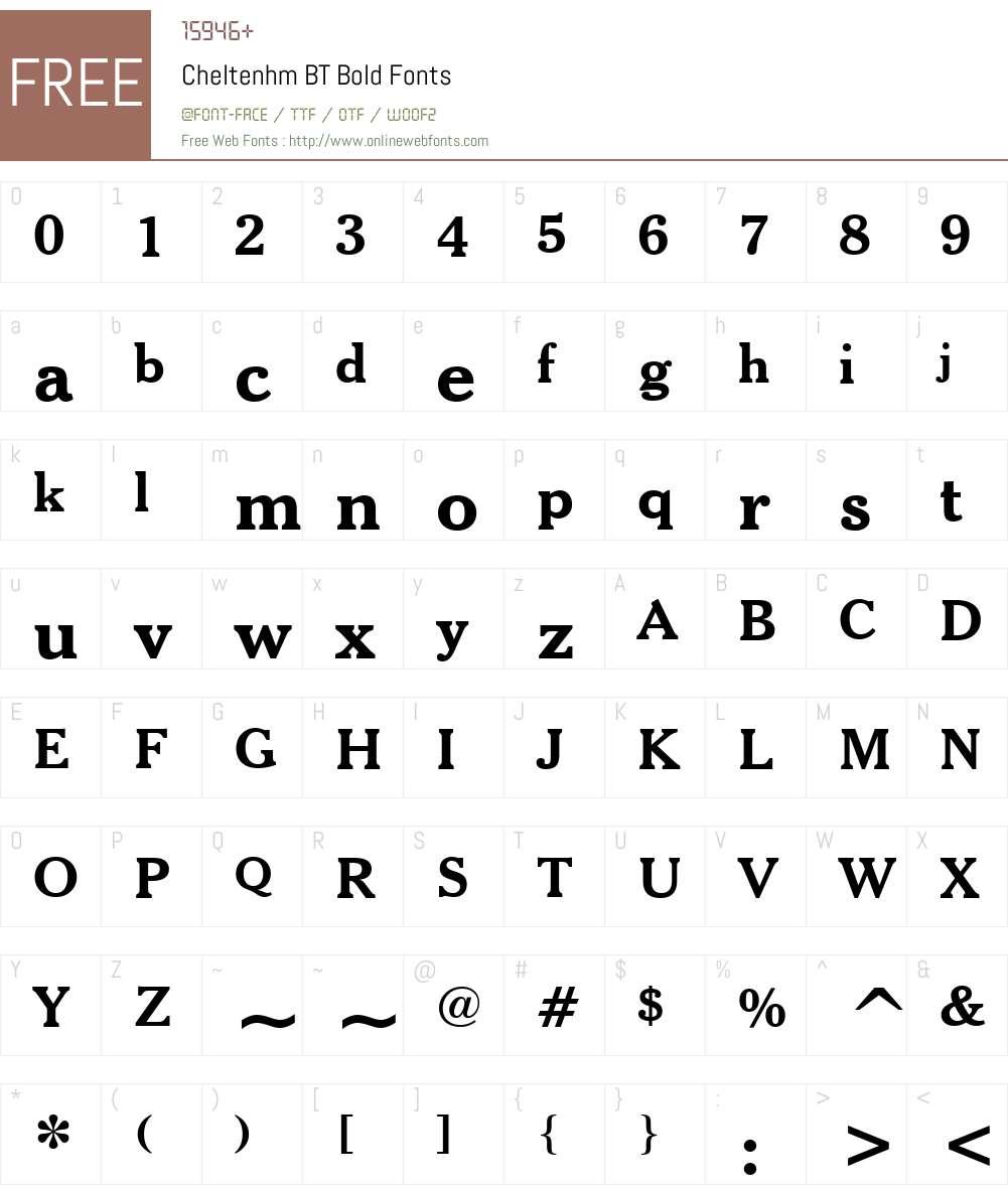 Cheltenhm BT Font Screenshots
