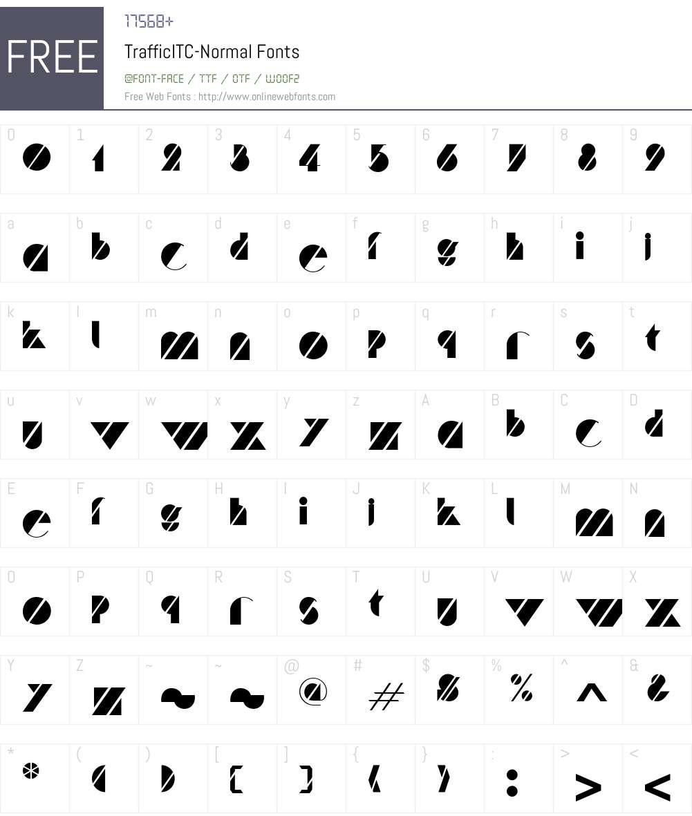 Traffic Font Screenshots