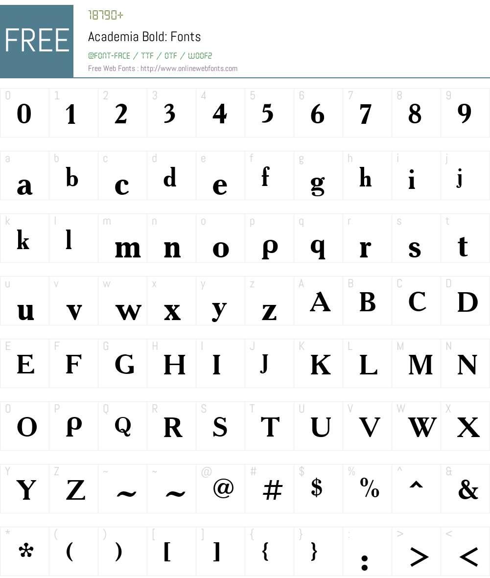 Academia Font Screenshots