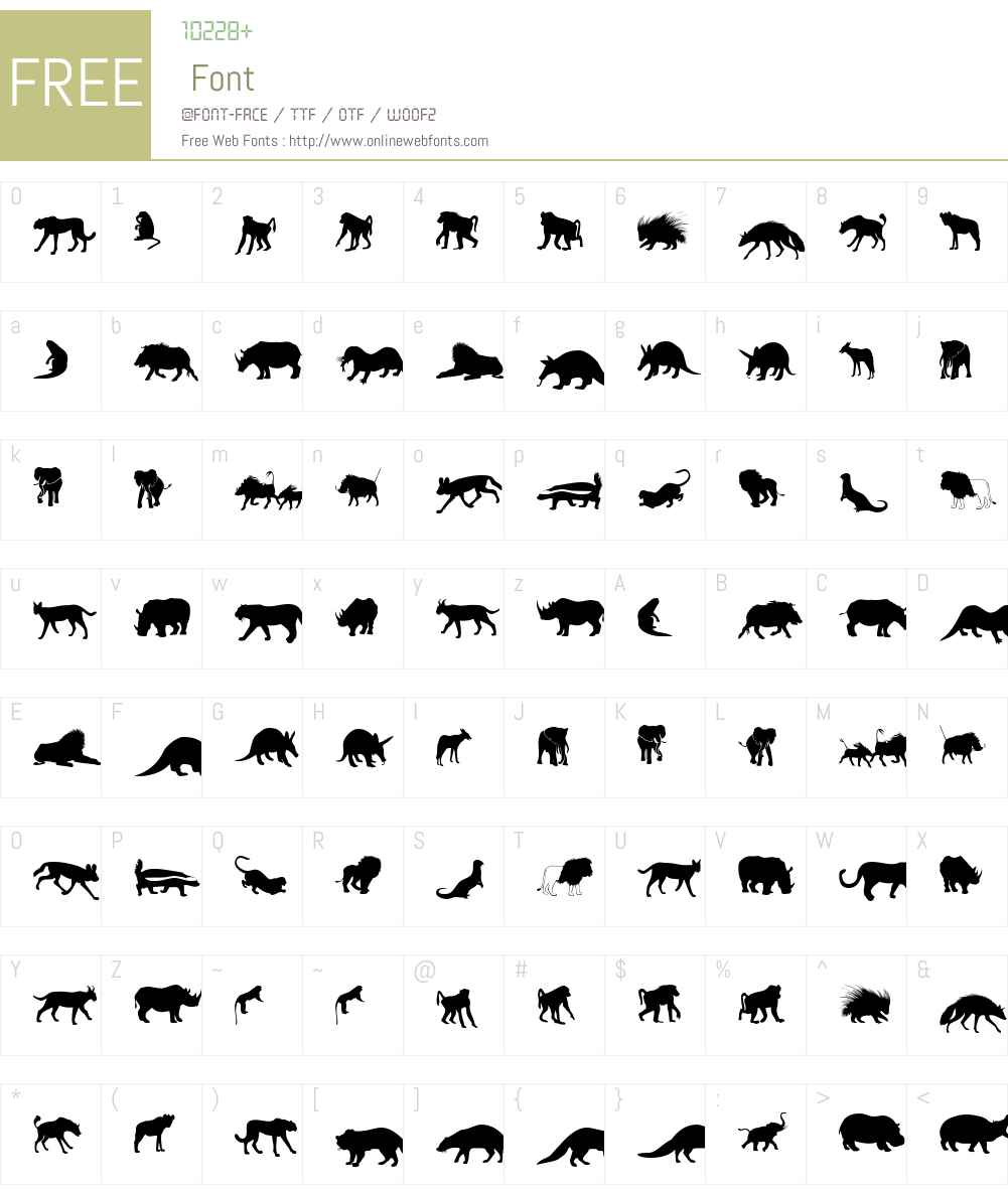 Afrika Wildlife B Mammals2 Font Screenshots