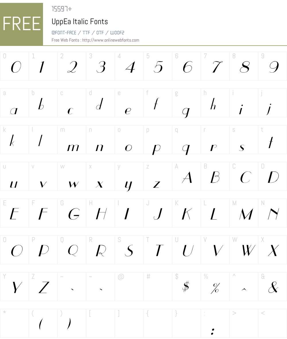 UppEa Italic Font Screenshots