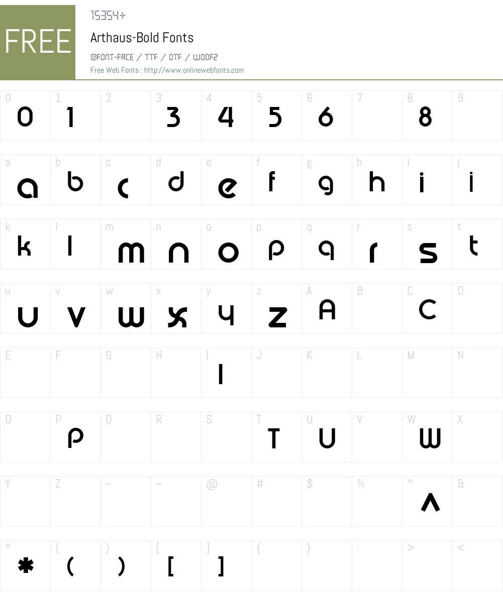 Arthaus-Bold Font Screenshots