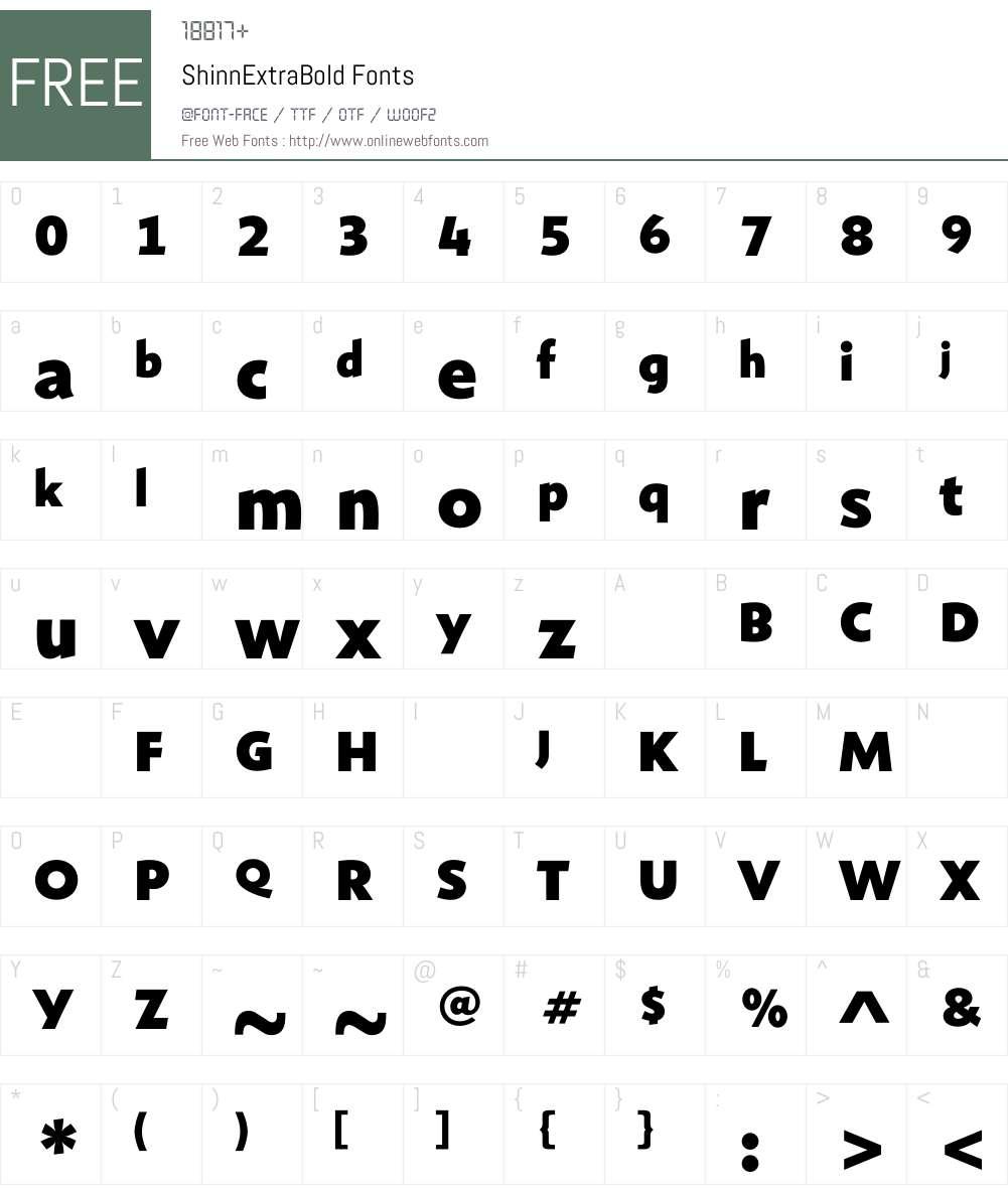 ShinnExtraBold Font Screenshots