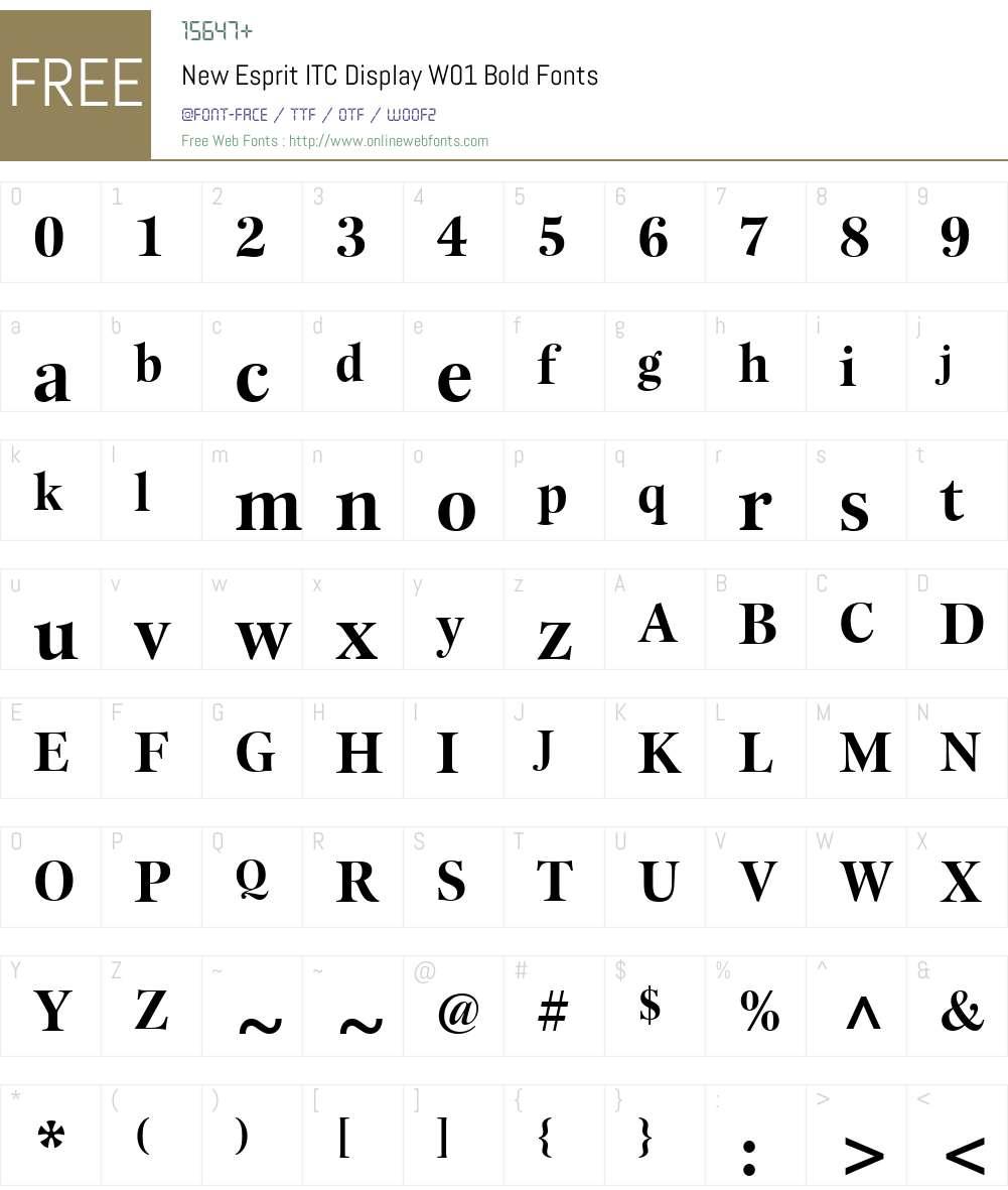 NewEspritITCDisplayW01-Bold Font Screenshots