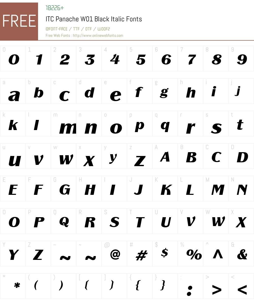 ITCPanacheW01-BlackItalic Font Screenshots