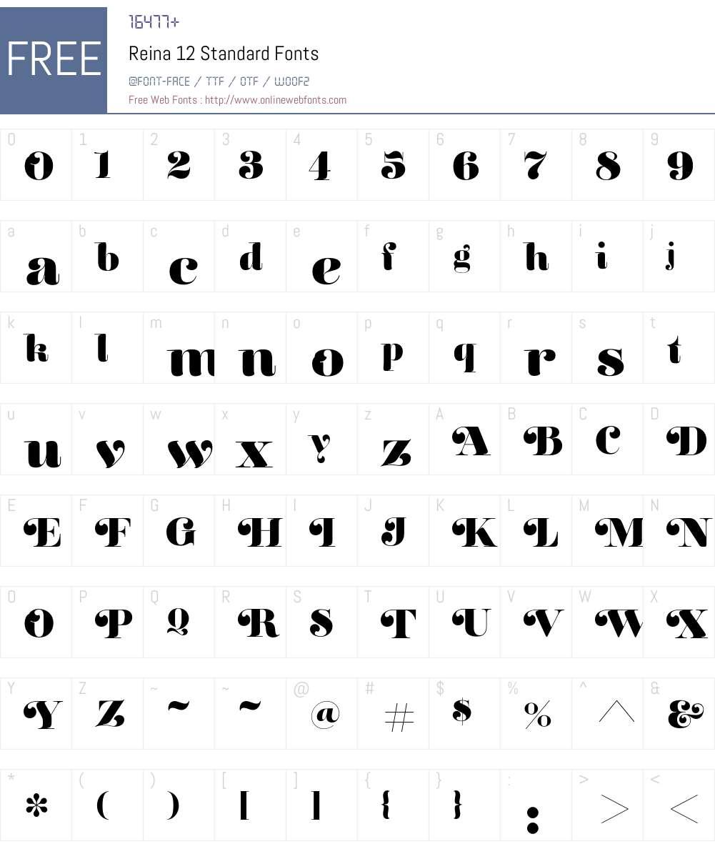 Reina 12 Standard Font Screenshots
