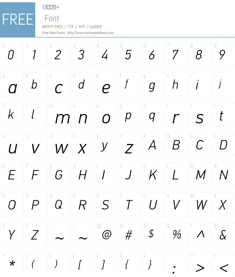 PFDinTextW01-LightItalic Font Screenshots