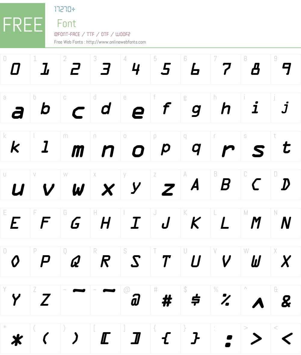 Optical A Font Screenshots