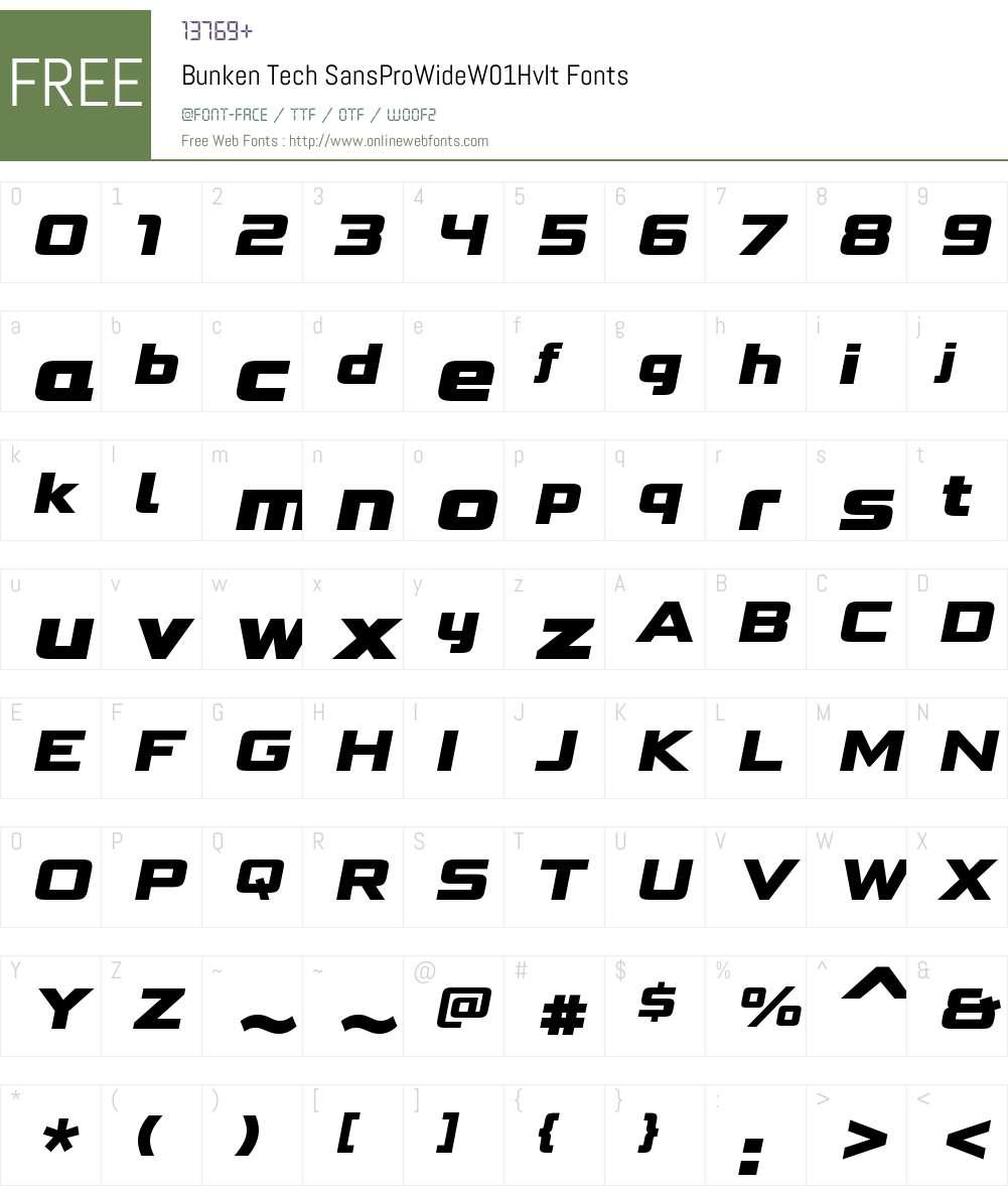 BunkenTechSansProWideW01-HvIt Font Screenshots