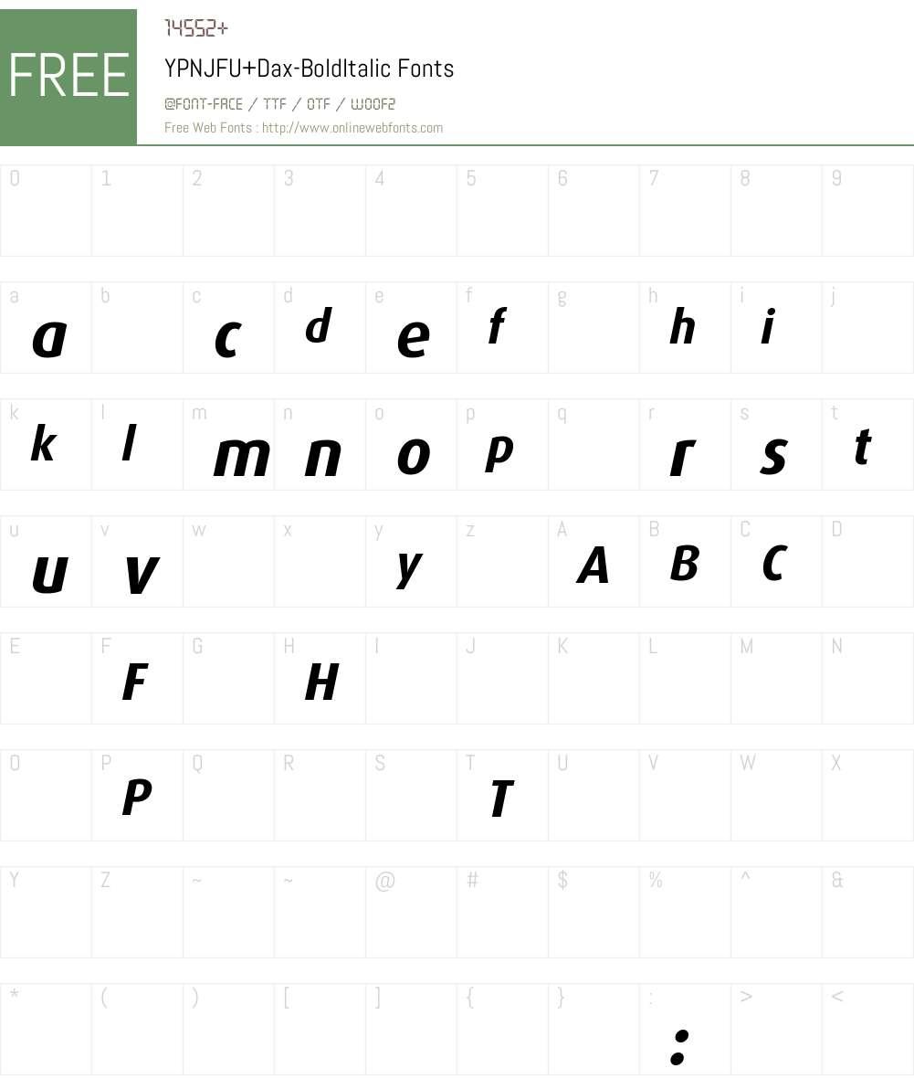 YPNJFU+Dax-BoldItalic Font Screenshots
