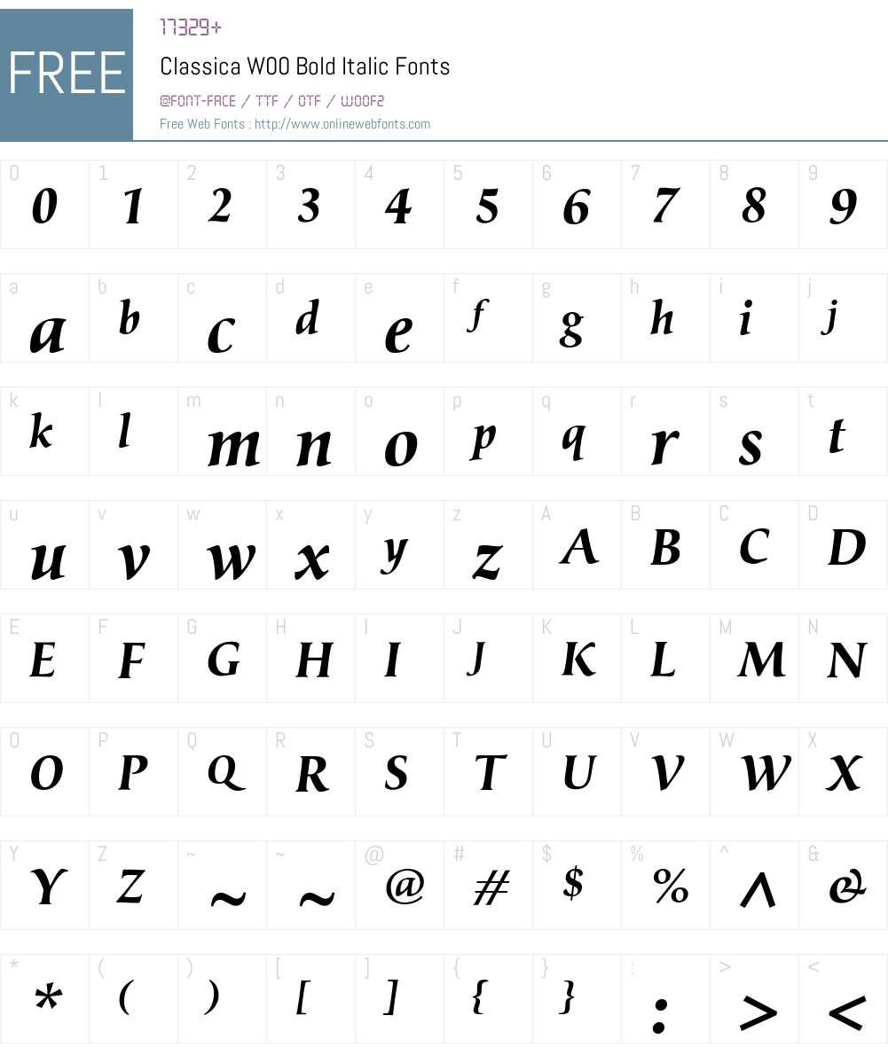 ClassicaW00-BoldItalic Font Screenshots