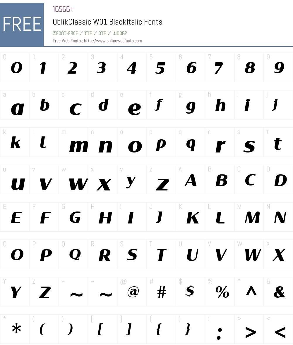 OblikClassicW01-BlackItalic Font Screenshots