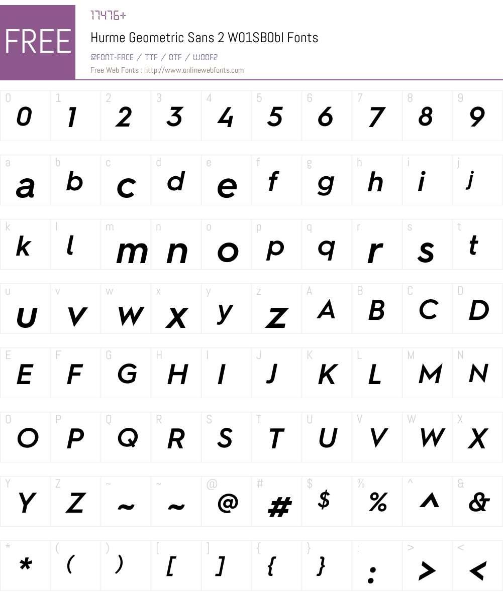 HurmeGeometricSans2W01-SBObl Font Screenshots