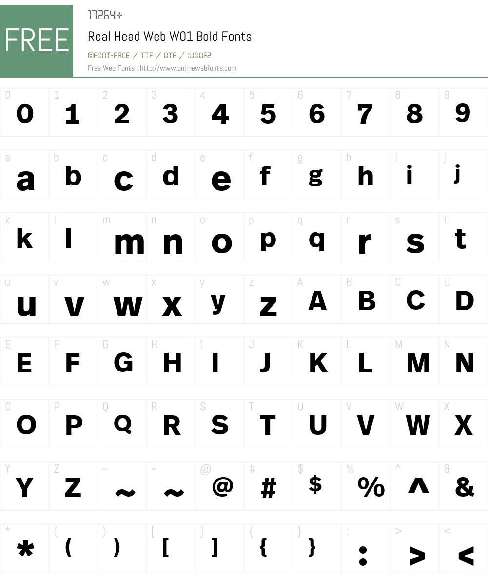 RealHeadWebW01-Bold Font Screenshots