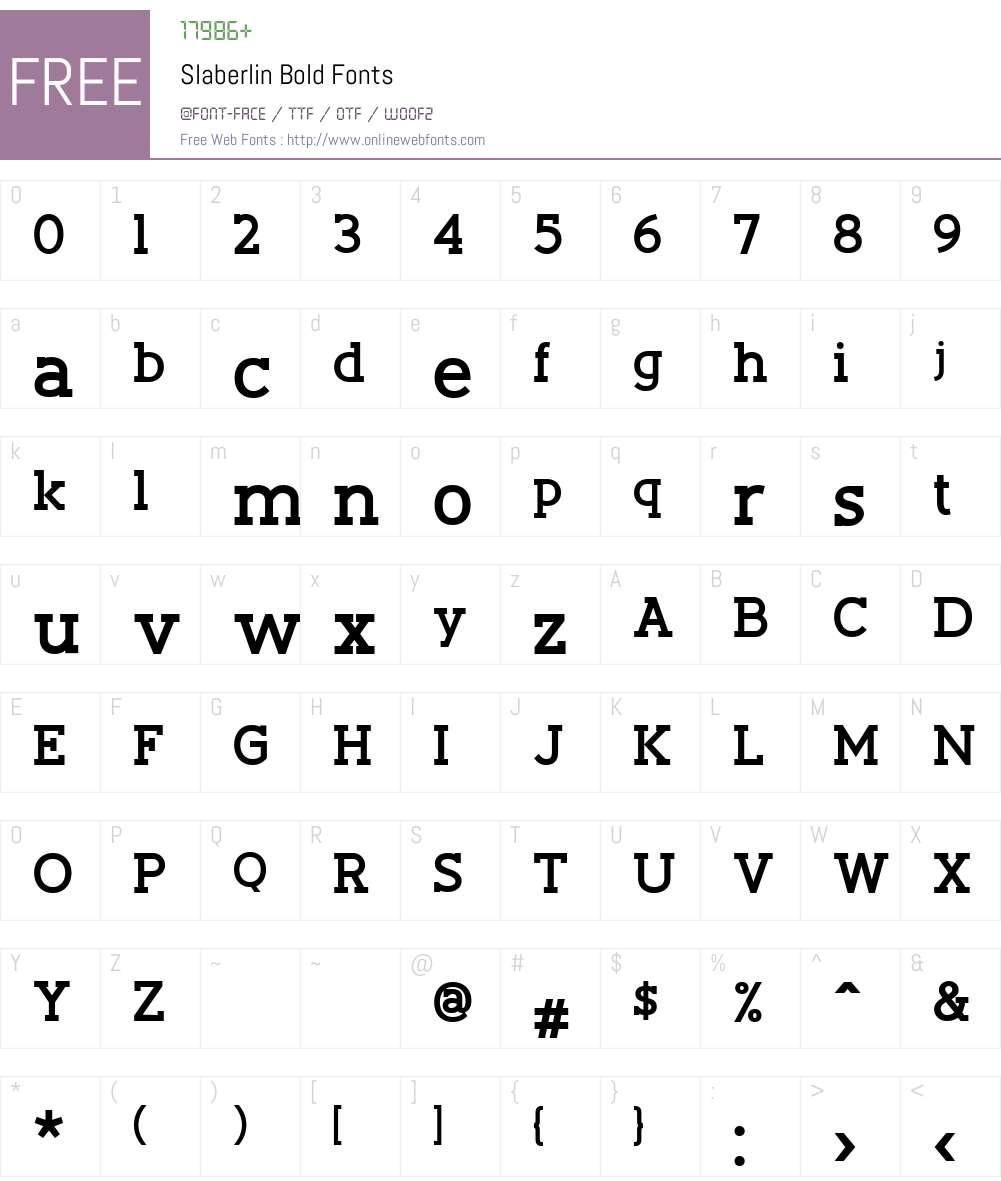 Slaberlin Bold Font Screenshots