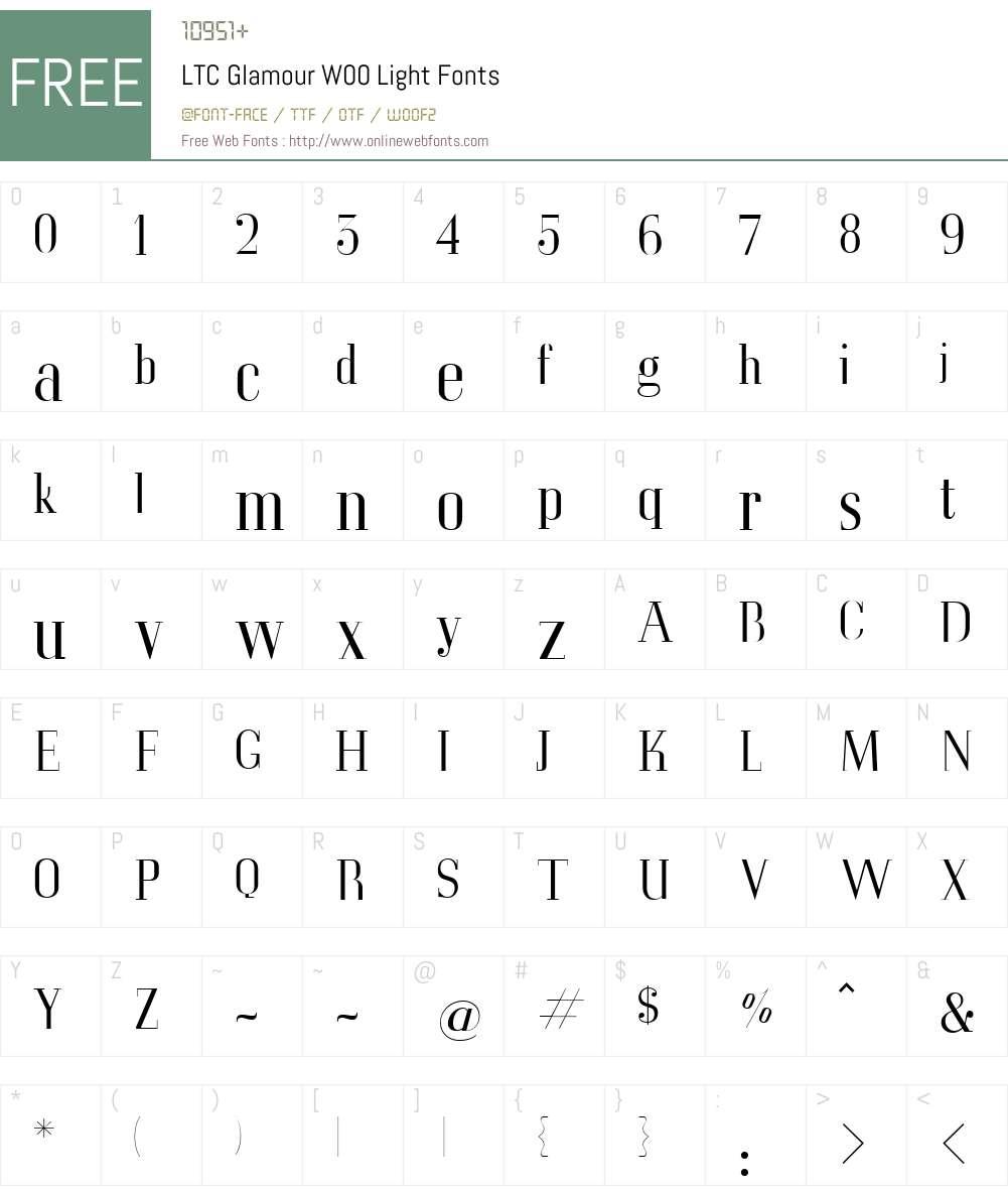 LTCGlamourW00-Light Font Screenshots