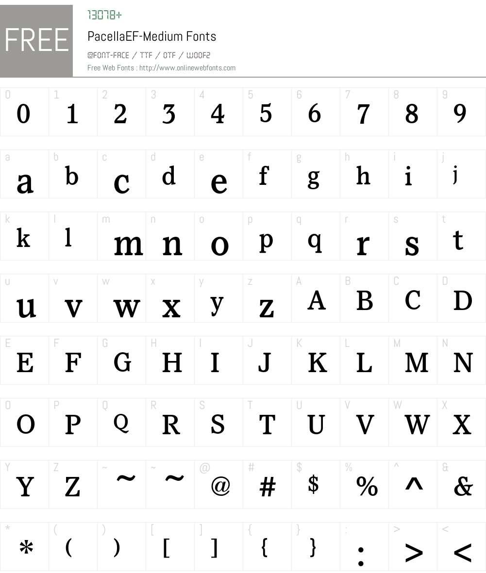PacellaEF-Medium Font Screenshots