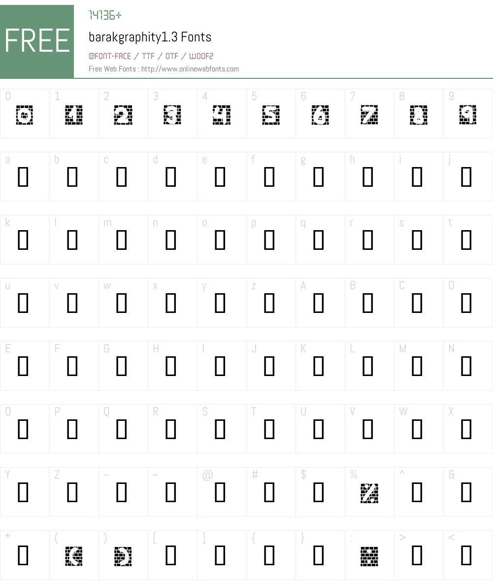 barakgraphity1.3 Font Screenshots