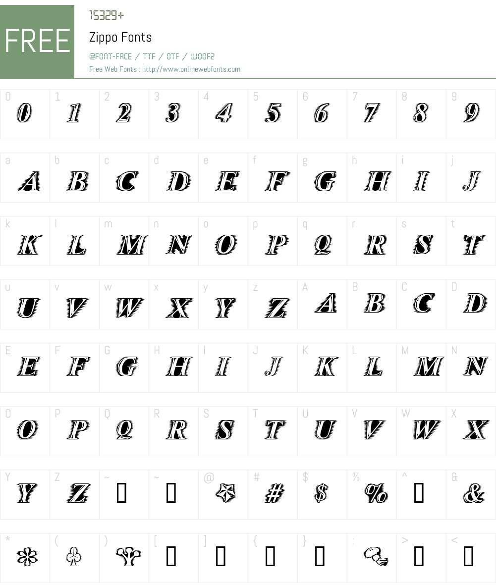 Zippo Font Screenshots