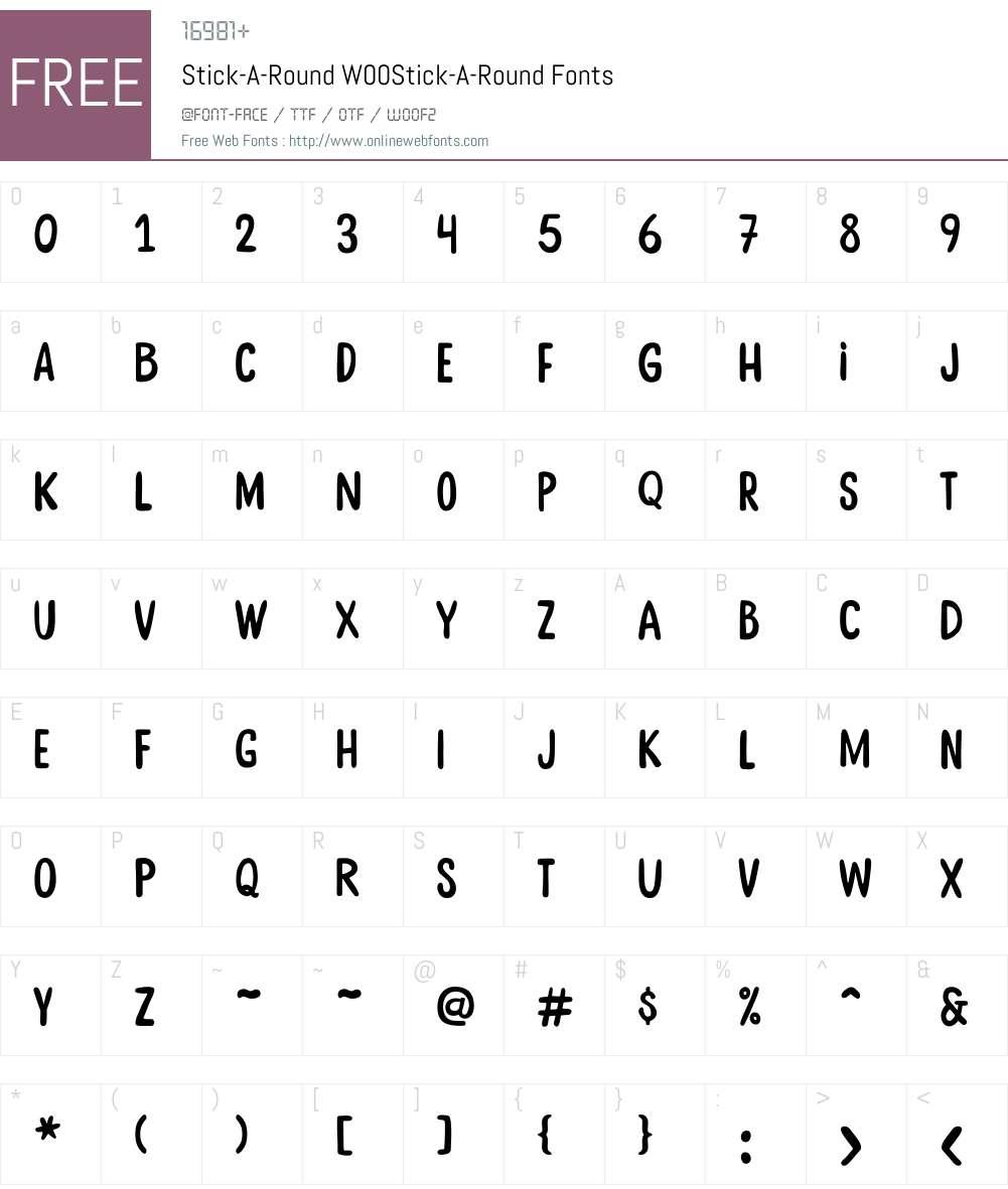 Stick-A-RoundW00-Stick-A-Round Font Screenshots
