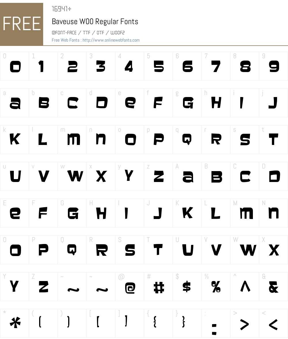 BaveuseW00-Regular Font Screenshots