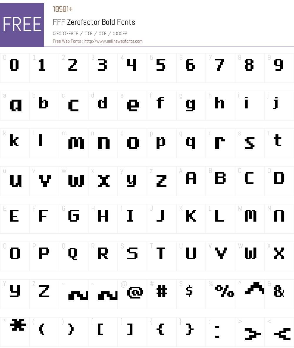 FFF Zerofactor Bold Font Screenshots