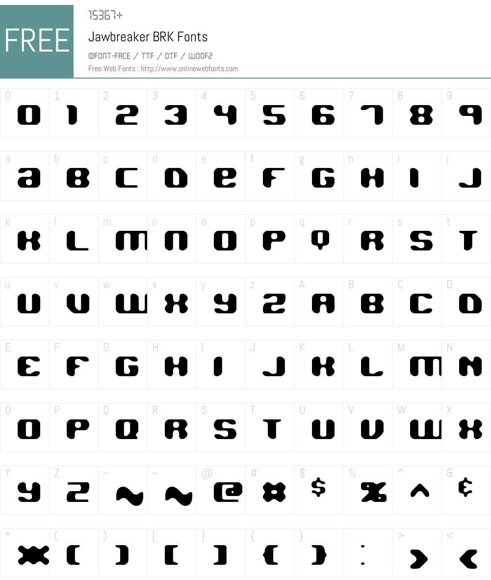 Jawbreaker BRK Font Screenshots