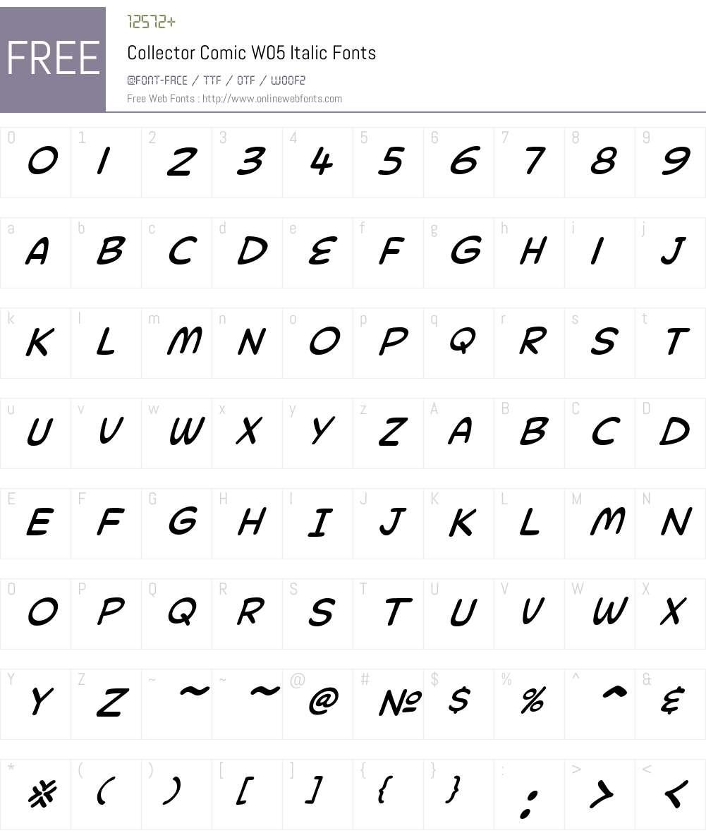 CollectorComicW05-Italic Font Screenshots