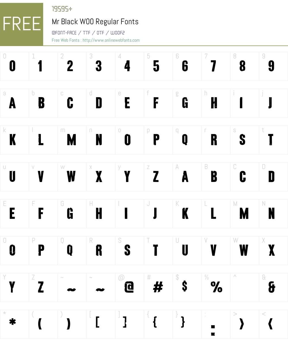 MrBlackW00-Regular Font Screenshots