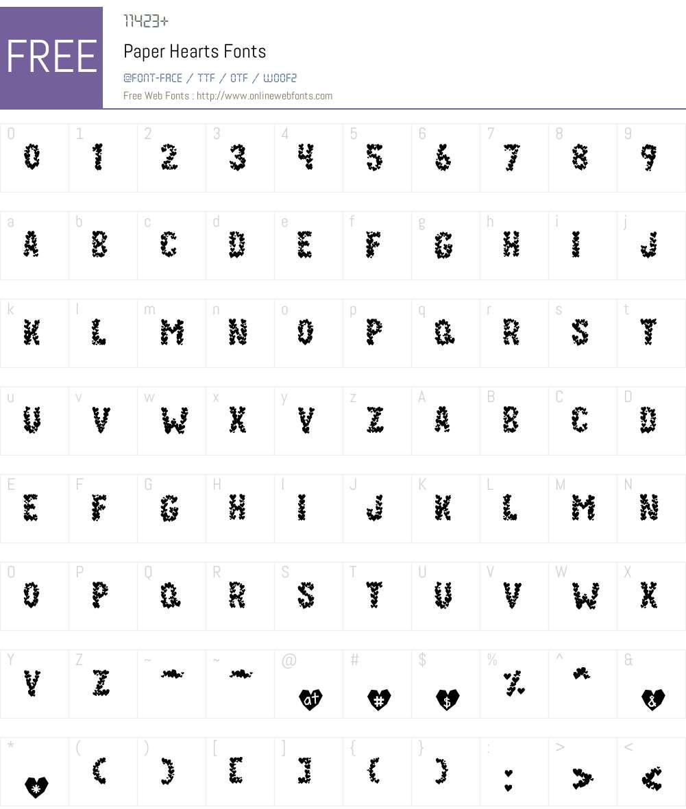 Paper Hearts Font Screenshots