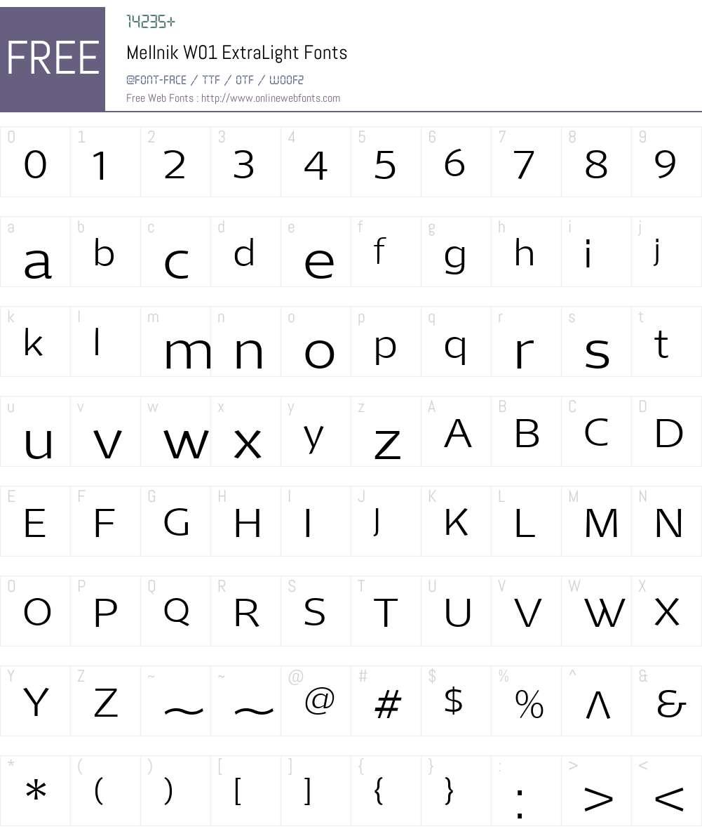 MellnikW01-ExtraLight Font Screenshots