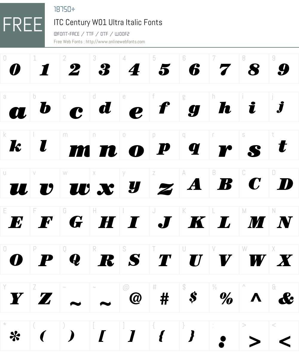 ITCCenturyW01-UltraItalic Font Screenshots