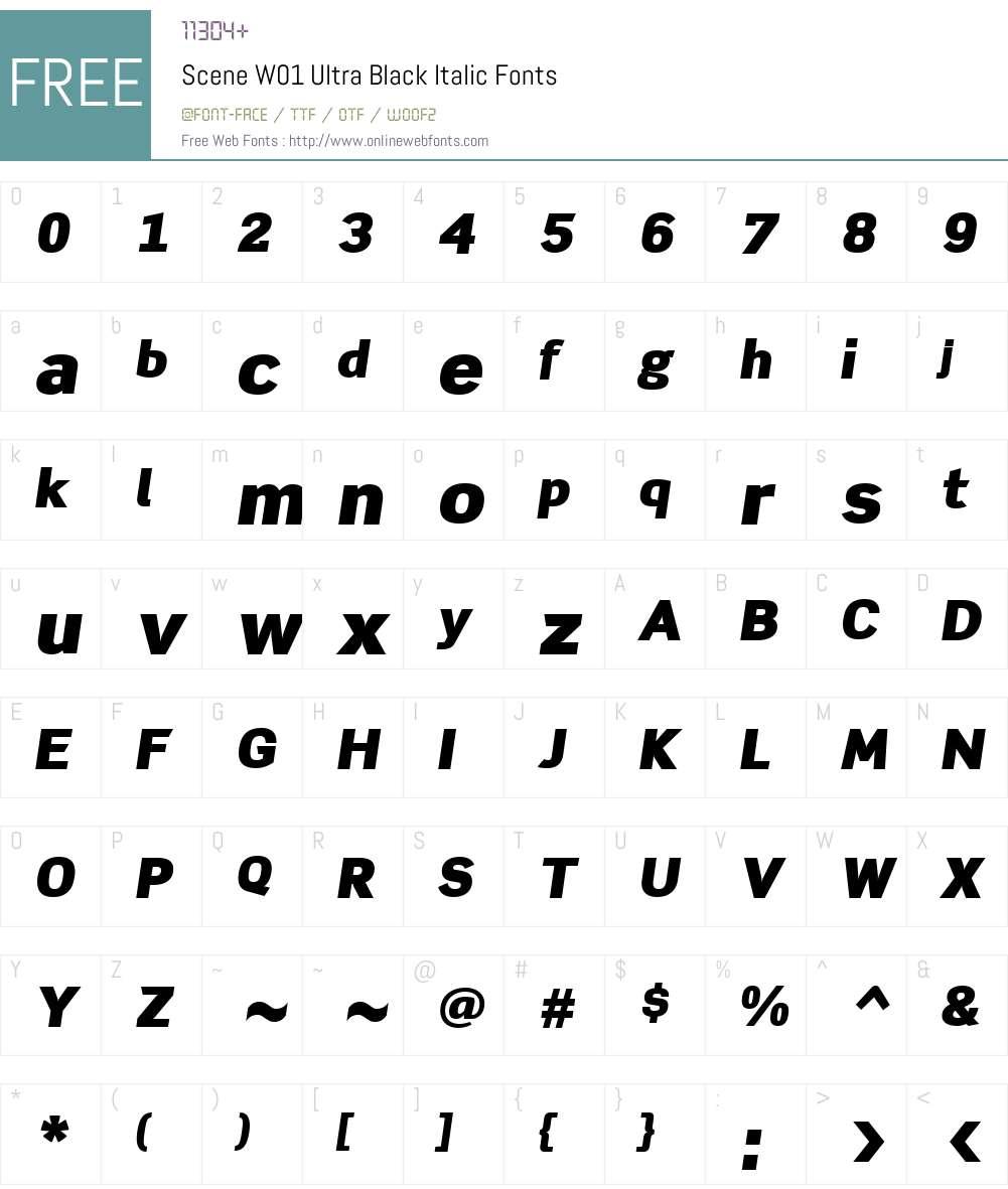 SceneW01-UltraBlackItalic Font Screenshots